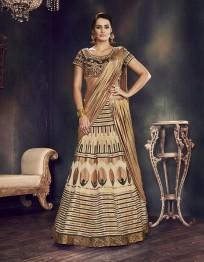 PR Fashion Art Silk Beige Lehenga Choli - PRM7490