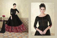 PR Fashion Satin Black & Pink Top Semi Stitched Suit - PRM6477