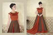 PR Fashion Tussar Silk Rust & Green Top Semi Stitched Suit - PRM6480