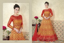 PR Fashion Satin Red & Mustard Yellow Top Semi Stitched Suit - PRM6481