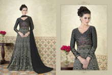 PR Fashion Satin Black Top Semi Stitched Suit - PRM6483