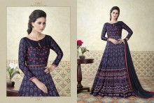 PR Fashion Satin Navy Blue & light pink Top Semi Stitched Suit - PRM6484
