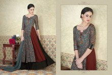 PR Fashion Tussar Silk Light Teal Blue & Rust Top Semi Stitched Suit - PRM6485