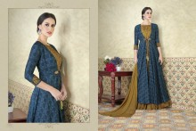 PR Fashion Tussar Silk Steel Blue & Dark Beige Top Semi Stitched Suit - PRM6486