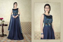 PR Fashion Satin Navy Blue Top Semi Stitched Suit - PRM6487