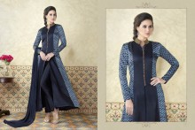 PR Fashion Satin Navy Blue Top Semi Stitched Suit - PRM6488