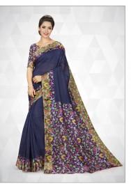 PR Fashion Cotton Silk Navy Blue Color Saree With Unstitched Blouse - PRM7164