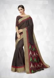 PR Fashion Cotton Silk Black Color Saree With Unstitched Blouse - PRM7166