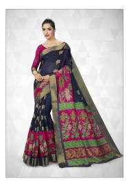 PR Fashion Cotton Silk Navy Blue & Dark Pink Color Saree With Unstitched Blouse - PRM7167
