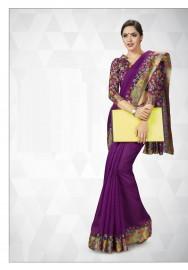 PR Fashion Cotton Silk Purple Color Saree With Unstitched Blouse - PRM7168