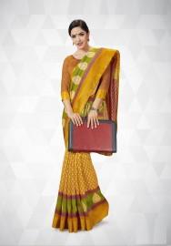 PR Fashion Cotton Silk Yellow Color Saree With Unstitched Blouse - PRM7169
