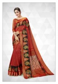 PR Fashion Cotton Silk Rust Orange Color Saree With Unstitched Blouse - PRM7170