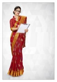 PR Fashion Cotton Silk Red Color Saree With Unstitched Blouse - PRM7171