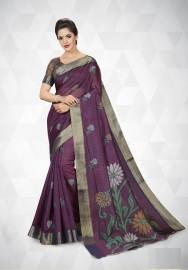 PR Fashion Cotton Silk Wine  Color Saree With Unstitched Blouse - PRM7172