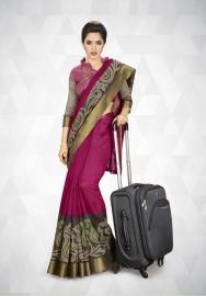 PR Fashion Cotton Silk Dark Pink Color Saree With Unstitched Blouse - PRM7173