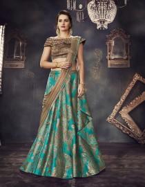 PR Fashion Jacquard Silk Turquoise Blue Lehenga Choli - PRM7485