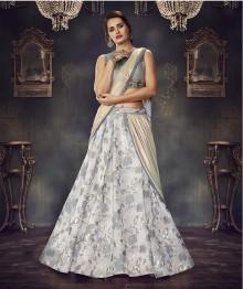 PR Fashion Jacquard Silk Grey Lehenga Choli - PRM7486