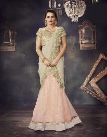 PR Fashion Net Peach Lehenga Choli - PRM7488