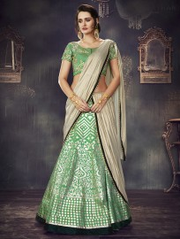 PR Fashion Jacquard Silk Sea Green Lehenga Choli - PRM7489