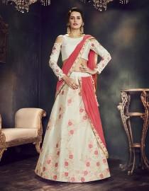 PR Fashion Art Silk Off-White Lehenga Choli - PRM7492