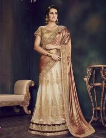 PR Fashion Net Off-White Lehenga Choli - PRM7495